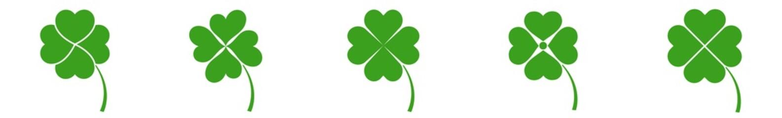 Shamrock Icon Green | Shamrocks | Four Leaf Clover | Irish Symbol | St Patrick's Day Logo | Luck Sign | Isolated | Variations