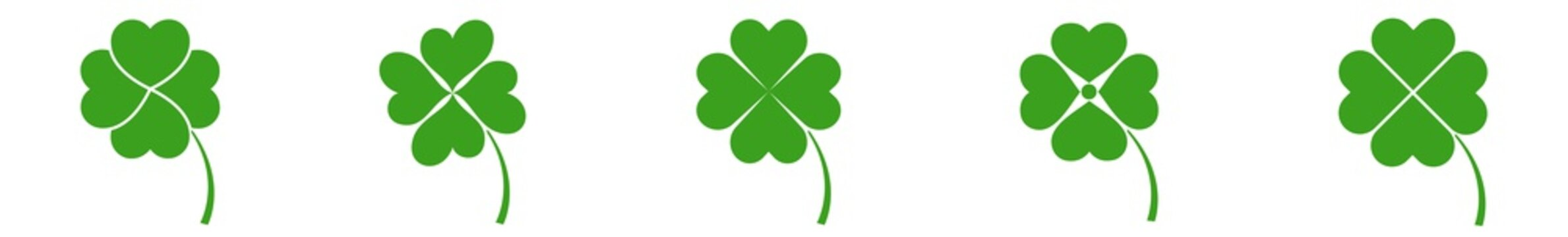 Shamrock Icon Green | Shamrocks | Four Leaf Clover | Irish Symbol | St Patrick's Day Logo | Luck Sign | Isolated | Variations