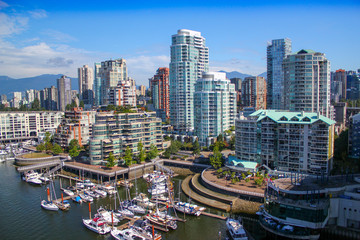 Beautiful view: The Skyline of Vancouver / British Columbia / Canada - Granville Island Wall mural