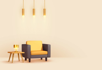 Interior design living room. Realistic wooden square table with gold lamp. Armchair yellow and black fabric. Hanging Golden Lamps. Minimal composition 3d rendering. Vector illustration.