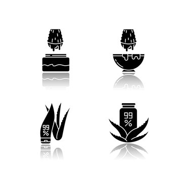 Aloe vera drop shadow black glyph icons set. Juice from cut succulent leaf. Liquid from sliced cactus thorn. Pure plant based cosmetic products. Isolated vector illustrations on white space