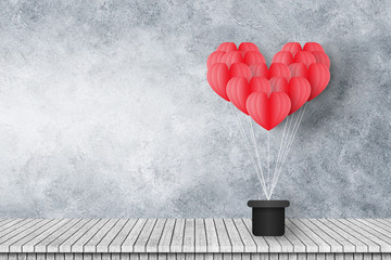 Wall Mural - group of red heart shaped balloons float on cement wall with wooden floor