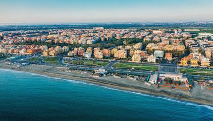 Lido di Ostia famous Italian sandy beach aerial panorama.