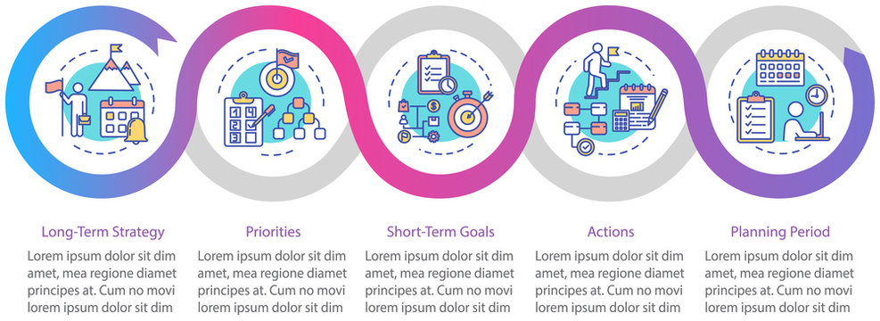 Long-term strategy vector infographic template. Achieving goals presentation design elements. Data visualization with 5 steps. Process timeline chart. Workflow layout with linear icons
