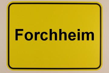 Illustration des Ortseingangsschilds der Stadt Forchheim in Bayern