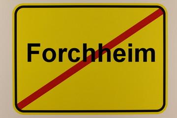 Illustration des Ortsausgangsschilds der Stadt Forchheim in Bayern