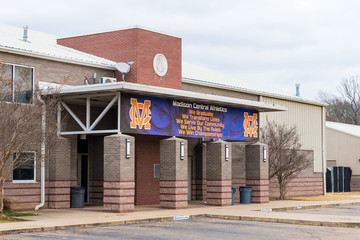 Madison, MS / USA - December 14, 2019 - Madison Central High School Athletics Building in Madison, Mississippi