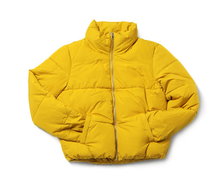 Yellow warm women's jacket isolated on white, top view