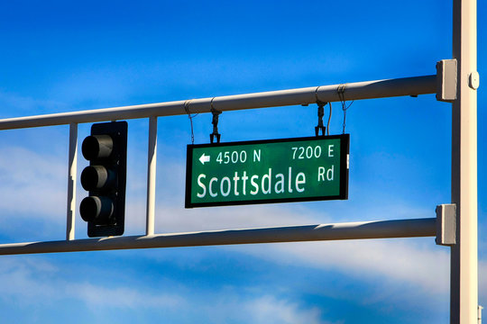 Scottsdale Road overhead gantry sign in downtown Old Town Scottsdale AZ
