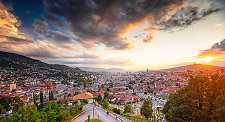 Sunset view of Sarajevo, Bosnia