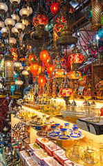 Colorful stained glass lamps in Grand Bazaar in Istanbul, Turkey