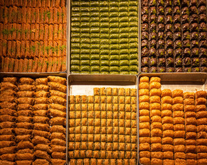 Sweets in the Grand bazaar shops in Istanbul, Turkey