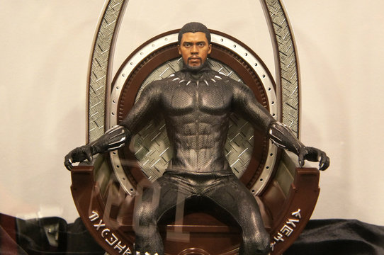 KUALA LUMPUR, MALAYSIA - JUNE 22, 2019: Fictional character action figure Black Panther and Killmonger from Marvel. The action figure displayed by the collector for public