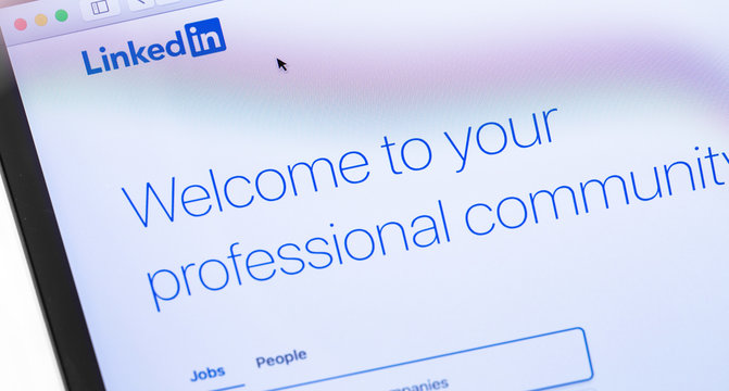 LinkedIn webpage on the screen notebook. LinkedIn is a social network for finding and establishing business contacts. Moscow, Russia - September 24, 2019
