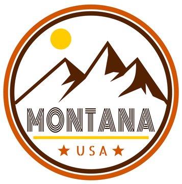 Montana badge with mountains and sunshine