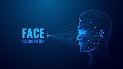 Face recognition low poly wireframe banner vector template. Futuristic computer technology, smart identification system poster polygonal design. Facial scan 3d mesh art with connected dots