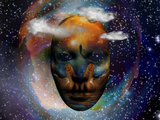 Mask with the image of man, hands of a prayer and seashore. Colorful universe on background