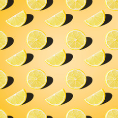 seamless food pattern with fresh slice lemon on light yellow background