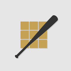 Minimalist baseball bat in the strike zone icon