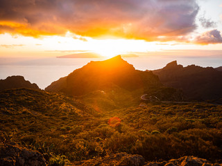 Picture of the landscape of Tenerife, the Canary Islands . Ocean, cliffs, beach, mountains, volcano.
