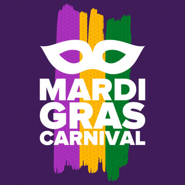 Mardi Gras Carnival in New Orleans. Fat Tuesday. Traditional holiday, celebration annual. Folk festival, costume masquerade, fun party. Carnival mask. Poster, card, banner and background. Vector illus