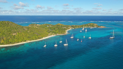 Aerial view Caribbean Islands, St. Vincent and Grenadines, Caribbean.