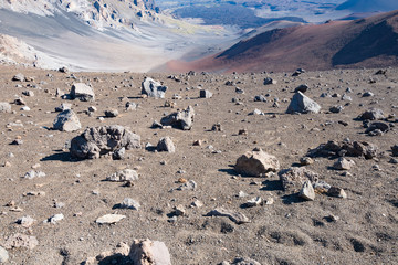 The starkly alien landscape of the Haleakala volcanic crater in Hawaii