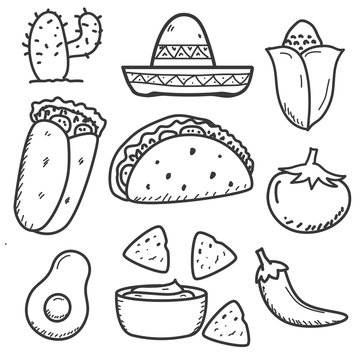Set of mexican food doodle vector illustration in hand drawn style isolated on white background