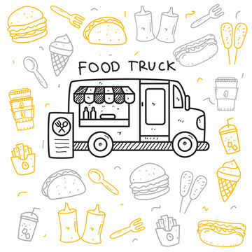 Food truck doodle vector illustration in cute hand drawn style isolated on white background