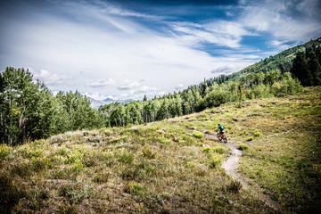 mountain biking across mountain meadow