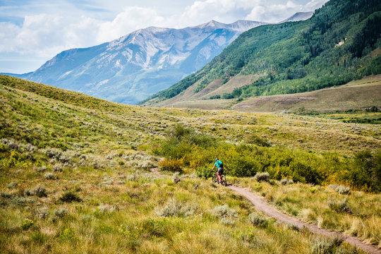 mountain biking in a meadow