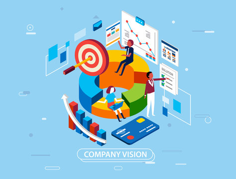 modern isometric vector illustration of vission and mission of the company, people working with infographic and laptop, there is target and solution for the company - vector illustration