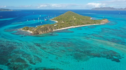 Caribbean islands and beaches aerial view, St. Vincent and Grenadines, Caribbean