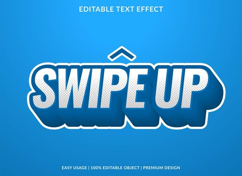 swipe up text effect template with 3d bold type style and retro concept use for brand label and logotype