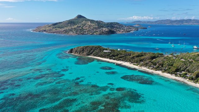 Caribbean Islands and beaches, aerial view, St. Vincent & Grenadines & Petite Martinique.
