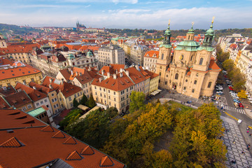 Elevated View of the Old Town Square in Prague With St. Nicholas Church
