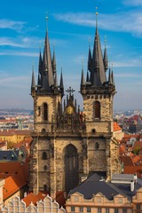 Gothic Architecture Church of Our Lady Before Tyn in Prague, Czechia