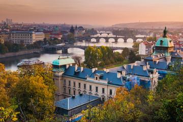 View Over Straka Academy to the Bridges of Prague on Sunset