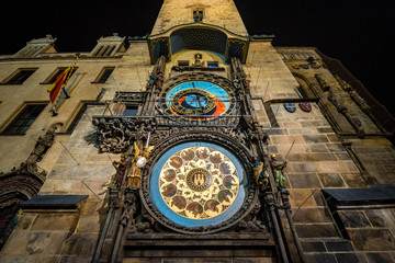 Astronomical Clock Tower in the Old Town of Prague at Night