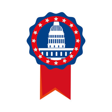 Usa capitol inside seal stamp design, United states america independence presidents day nation us country and national theme Vector illustration