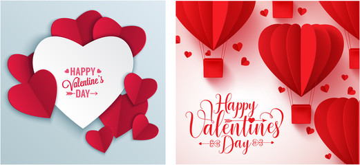 Happy Valentine's day message vintage retro vector background & banner
