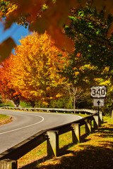 """Traffic Sign """"U.S. Route 340"""" at a Road in West Virginia on a sunny Day in Fall with colorful Foliage on Trees"""