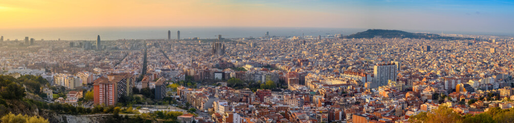 Poster Barcelona Barcelona Spain, high angle view panorama city skyline sunrise from Bunkers del Carmel