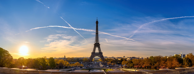 Poster Eiffel Tower Paris France, panorama city skyline sunrise at Eiffel Tower and Trocadero Gardens