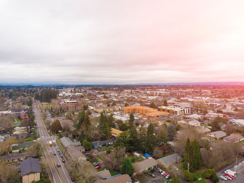 A photo of Beaverton, Oregon, USA, at sunset, a suburb. A photo from a height