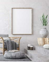 Mockup poster in ethnic style living room interior, 3d render