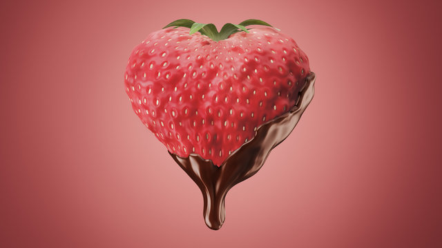 Heart-Shaped Strawberry Dipped in Melted Chocolate