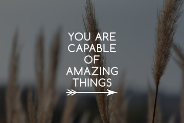Inspirational quotes - You are capable of amazing things.