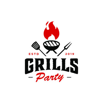 Vintage hipster Grill kettle Barbeque invitation party barbecue bbq with crossed fork spatula and fire flame Logo design