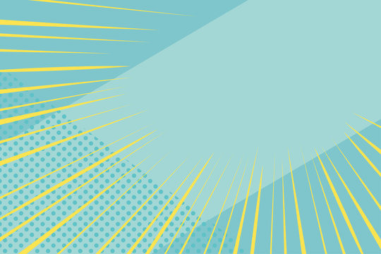 Blue and yellow comic burst background, pop art style